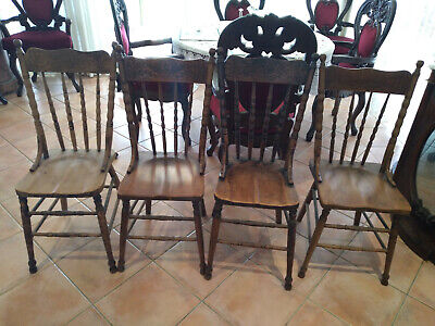 AU200 • Buy Antique  Spindle Back Wooden Chairs In Very Good Condition [set Of 4]