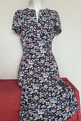 Jigsaw Floral Midi Tea Dress Blue Green Red Brora Short Sleeve Uk 10 Or 8  • 20£