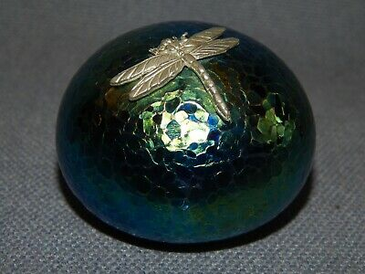 £21.99 • Buy Iridescent Heron Glass Paperweight With Pewter Dragonfly ~ Signed ~ Art Glass