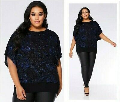 £22.50 • Buy New QUIZ CURVE Blue & Black SPARKLY GLITTER Christmas PARTY NYE Top PLUS Size 24