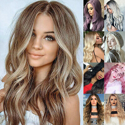 £15.69 • Buy Ladies Long Curly Wavy Hair Full Head Ombre Party Cosplay Real Natural Hair Wigs
