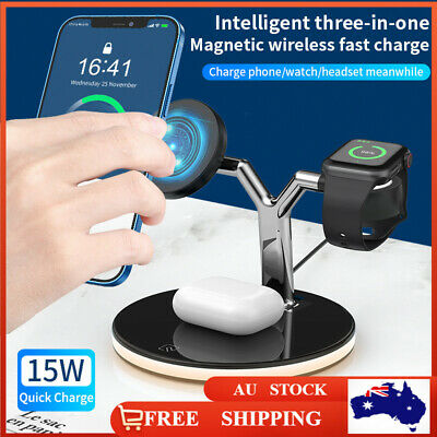AU49.99 • Buy 3 In 1 Wireless Charger Dock 15W Charging Station For Apple IWatch IPhone Airpod