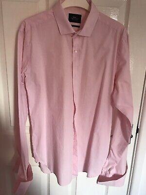 £6 • Buy MOSS LONDON Mens Shirt Pink Extra Slim Fit Double Cuff 16 In