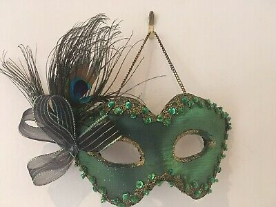 £14 • Buy Peacock Feather  Hanging Masquerade Wall Mask Costume Ball