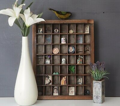 AU105.88 • Buy Lovely Small Wooden Printers Tray Display Case With Little Curios Included