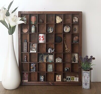 AU134.60 • Buy Lovely Small Wooden Antique Printers Tray Type Case With Decorative Curios Inc.