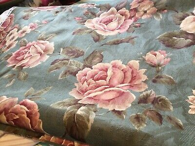 Green And Pink Cabbage Rose Decorator Fabric 54 Wide 4 Yards Available • 7.15£