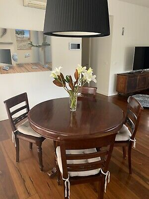 AU200 • Buy Solid Timber Round Dining Room Table And Four Chairs.