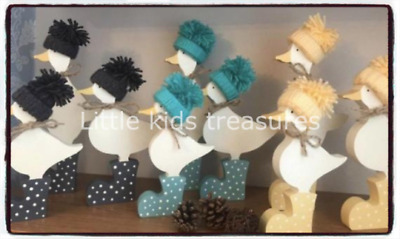 £20 • Buy Wooden Ducks In Spotty Wellies Set Of 3 - Various Colours Hand Painted NEW