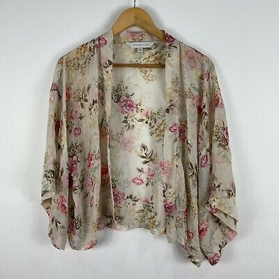 AU24.95 • Buy Forever New Womens Kimono Cardigan Cape 10 Multicoloured Floral Bell 3/4 Sleeve