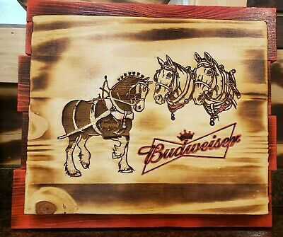 $ CDN60.45 • Buy Custom ANHEUSER BUSCH BUDWEISER BEER CLYDESDALE HORSES WOOD SIGN - Laser Engrave
