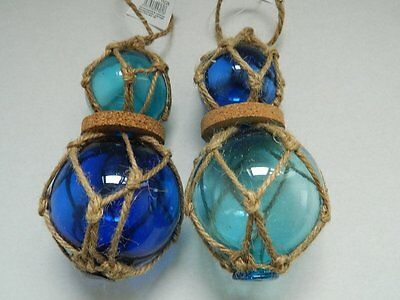 £17.99 • Buy Set Of Two Double Glass Buoys/ Floats Ornament