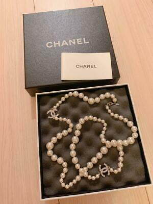 £458.70 • Buy CHANEL Pearl Long Necklace Authentic With Box Tracking