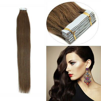 16  Tape-In Russian Remy 100% Human Hair Extensions 25g 10pcs Chocolate Brown UK • 12.99£