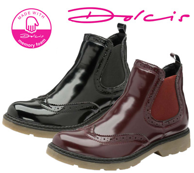 £19.99 • Buy Ladies Dolcis Winlove Chelsea Memory Foam Patent Thick Tread Ankle Boots