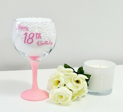 £9.99 • Buy Personalised Milestone Birthday Glitter Gin Glass Gift Wrapped 18th 21st 30th