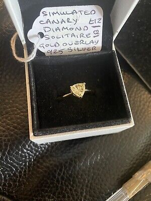 Swiss Star Simulated Canary Diamond Stud Solitaire Ring In Yellow Gold Overlay • 12£