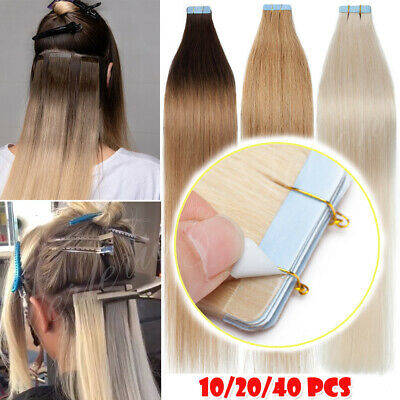 Highlight Tape In 100% Russian Remy Real Human Hair Extentions Full Head Thick • 13.22£