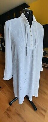 Ghost Tunic, White With White Embroidery And Lace Cut-out Work • 10£