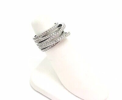 £18.20 • Buy Fine Crystal Rhodium Plated Crossover Ring, UK P, EU 55, US 7.5 RRP £115