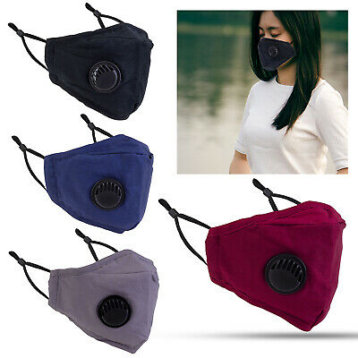 £2.99 • Buy WASHABLE FACE MASK 4 Layers With PM2.5 Filter & Air Valve Cotton Reusable Masks