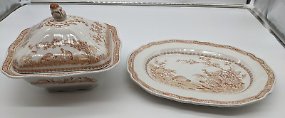 £20 • Buy Vintage Masons Ironstone Brown Quail Pattern Vegetable Tureen And Meat Platter