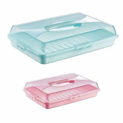 Plastic Cake Box Carrier Cupcake Storage Box Container Clear With Lid Lockable • 10.99£