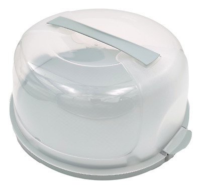 Plastic Round Cake Box Carrier Storage Container Clear Lockable Lid Cover 30cm • 9.99£