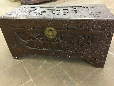 Carved Chinese Camphor Wood Chest Carved With Figures • 120£