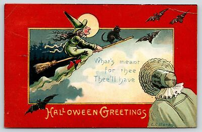 $ CDN18.13 • Buy Halloween~EC Burks~Witch Broomstick~Clouds & Bats~Sunbonnet Lady~Red Edge~Saxony