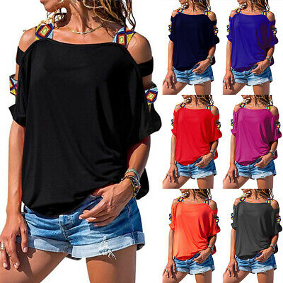 £5.99 • Buy Womens Summer Cut Out Cold Shoulder T Shirts Short Sleeve Loose Tops Blouses Tee