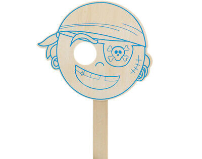 SALE - 6 Wooden Pirate Masks To Decorate For Kids Crafts • 7.55£