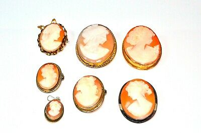 Antique Silver Carved Cameo Brooches Some Rolled Gold Costume Jewellery Repairs • 4.99£