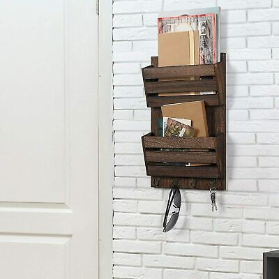 $19.99 • Buy 2-Slot Mail & Key Holder Organizer With 4 Hooks Wall Mounted Mail Sorter Wooden