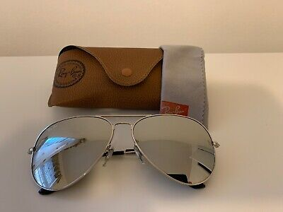 AU57.96 • Buy Ray Ban Aviator Sunglasses 3026,  62 Mm Large, Silver Frame/ Mirrored Lens.