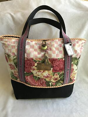 $285 • Buy Retired Mackenzie Childs PINK CHECK Signature PICK A POCKET TREMENDOUS TOTE Bag