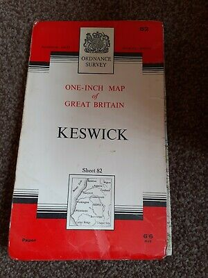 Vintage Ordnance Survey Paper  Map 1965 Keswick Sheet 82 In  Good Condition  • 2£