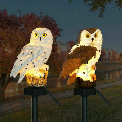 £7.85 • Buy Waterproof LED Owl Solar Powered Garden Light Outdoor Ornament Lawn Statue Lamp