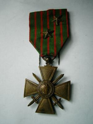 £24.99 • Buy WWI French Bronze Medal Croix De Guerre Military Bravery 2 Star Citation 1914 17