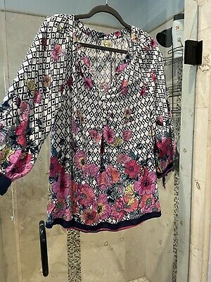 $ CDN30.33 • Buy Fig And Flower Anthropologie Women's XL Boho Top Blouse Pink Hibiscus 3/4 Sleeve