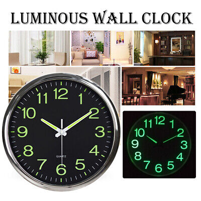 AU32.99 • Buy 12 Inch Quartz Wall Clock Luminous Silent Non Ticking Night Glow In The Dark
