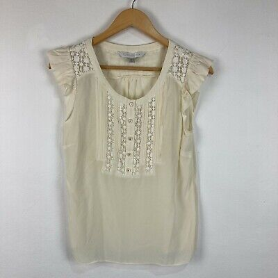 AU19.95 • Buy Forever New Womens Silk Top 10 Beige Short Sleeve Scoop Neck Button Closure