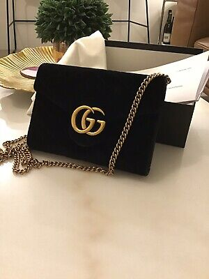 AU1000 • Buy Gucci Marmont GG Bag Black Velour Wallet On A Chain