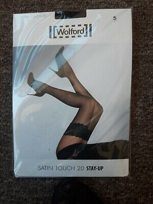 Wolford Satin Touch Stay Ups Black Small 20 Denier Free P&P  • 7.60£