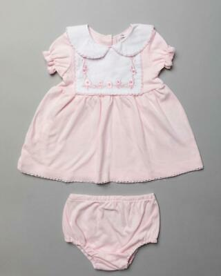 £11.99 • Buy Spanish Style  Baby Girls Dress And Knickers COTTON Pink Floral 0-3 3-6b6-12 M