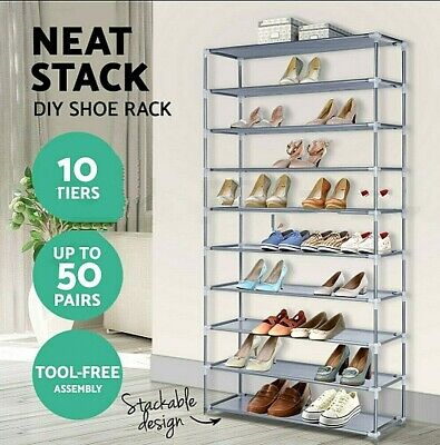 AU38 • Buy Stackable Shoe Rack Racks Cabinet Storage Shelves 10 Tiers Shoes Stand Organiser