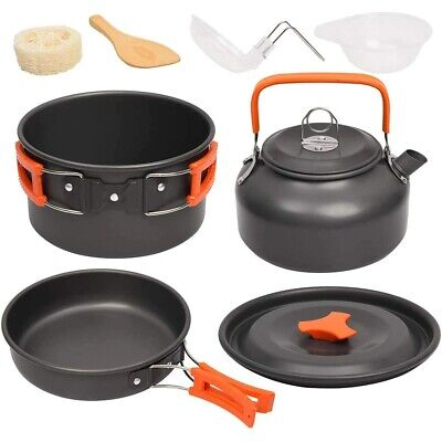 £32.74 • Buy Camping Cookware Kit Outdoor Aluminum Cooking Set Water Kettle Pan Pot Equipment