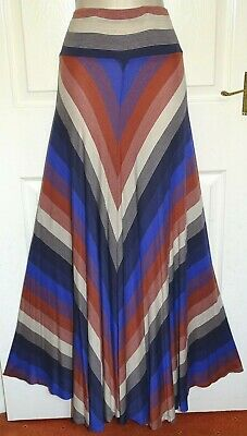 PHASE EIGHT Long Purple Navy Brown Fit & Flare Gypsy Boho Maxi Skirt Size 18/20 • 3.70£