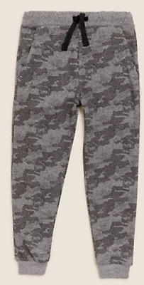 £6.99 • Buy Boys M*S Adaptive Joggers Grey Camouflage Easy Dress  Lounge Jogging Bottoms NEW
