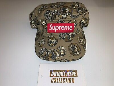 $ CDN41.11 • Buy Supreme 2014 S/s Coins Box Logo Camp Cap Hat 5 Panel Tan Used Pre-owned